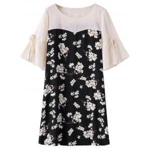 Knee Length Plus Size Floral Dress