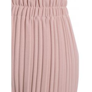 Plus Size Pleated Ankle Pants - PINK 4XL