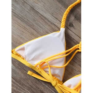Weaving Halter Ruched String Bikini -
