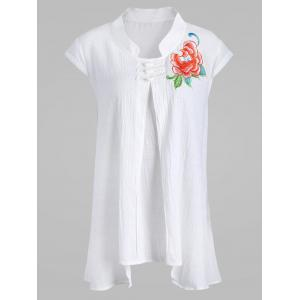 Plus Size Linen Plate Button Embellished Embroidered Top