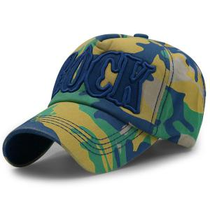 Camouflage Letters Embroidery Baseball Cap - Celadon