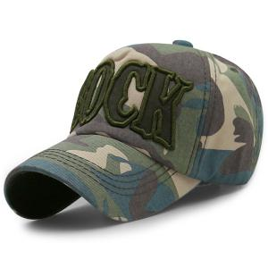 Camouflage Letters Embroidery Baseball Cap - Light Green - L