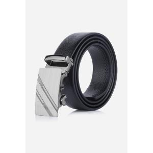 Metal Automatic Buckle Double Diagonal Stripe Belt