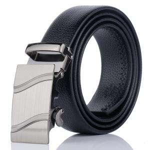 Automatic Metal Buckle Wave Pinstripe Belt