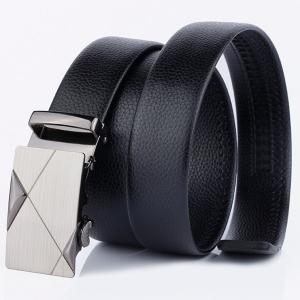 Alloy Automatic Buckle Triangle Line Embellished Belt - BLACK