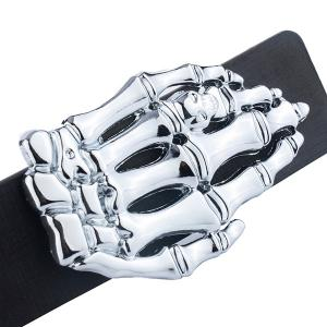 Skeleton Hand Shape Plate Buckle Belt - BLACK