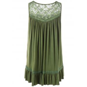 Lace Insert Plus Size Smock Tank Top - OLIVE GREEN XL