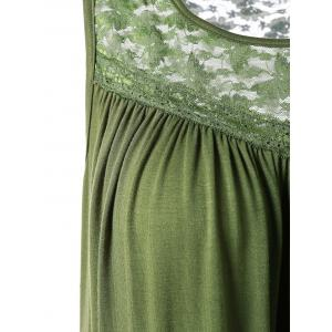 Lace Insert Plus Size Smock Tank Top - OLIVE GREEN 5XL