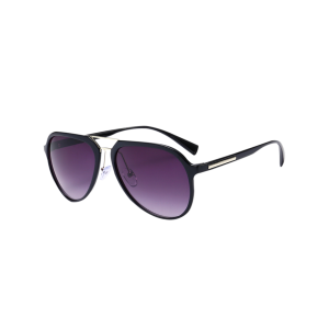 Mirrored Metal Crossbar Sunglasses - Black Frame+grey Lens