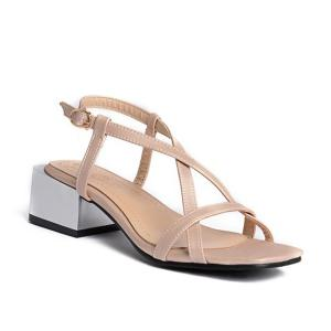 Cross Strap Mid Heel Sandals