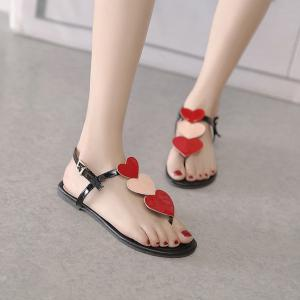Heart Pattern Color Block Sandals - RED 39