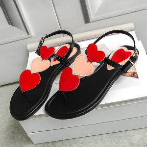 Heart Pattern Color Block Sandals -