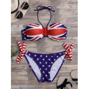 Union Flag Halter Patriotic Bandeau Bikini Set