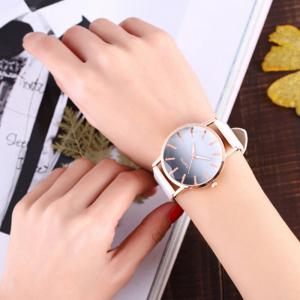 Faux Leather Band Ombre Quartz Watch -