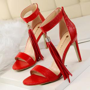 Zipper Tassels Faux Leather Sandals - RED 38