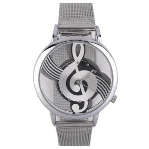 Steel Mesh Band Music Notation Watch - Silver
