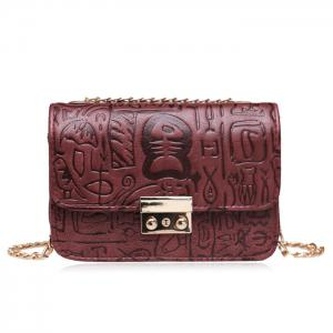 Bone Script Embossed Crossbody Bag