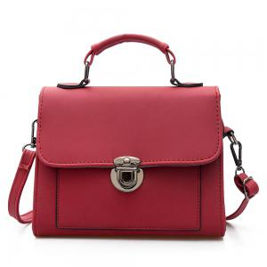 Push Lock Cross Body Handbag - Red