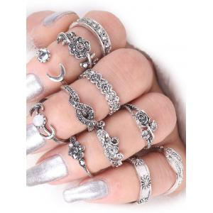 Moon Leaf Rose Flower Alloy Finger Ring Set
