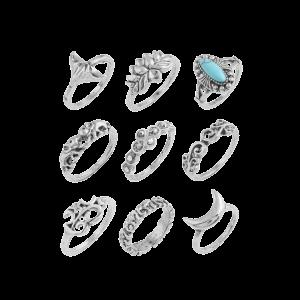 Faux Turquoise Elephant Moon Alloy Ring Set