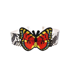 Snake Print Butterfly Embroidery Choker Necklace - Multicolor
