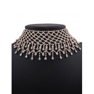 Alloy Fringed Rhinestone Necklace - GOLDEN