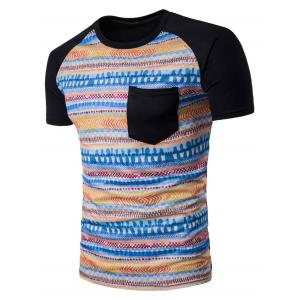 Tribal Geometric Print Raglan Sleeve Pocket T-Shirt