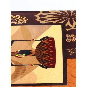 Figure Pattern Flannel Skid Resistant African Bathroom Rug -