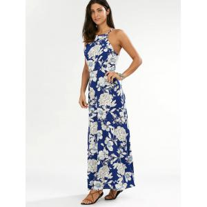 Flower Print Backless Maxi Dress - BLUE M