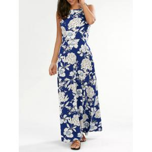 Flower Print Backless Maxi Dress