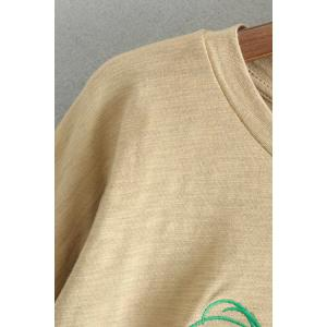 Oversized Plant Embroidered Crew Neck T-Shirt -