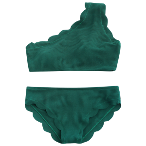 One Shoulder Scalloped Bikini Set - BLACKISH GREEN L