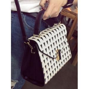 Geometric Print Faux Leather Handbag - OFF WHITE