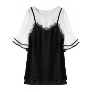 Lace Trim Bell Sleeve Plus Size Top