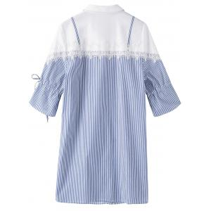 Lace Trim Stripe Plus Size Shirt - BLUE STRIPE 2XL