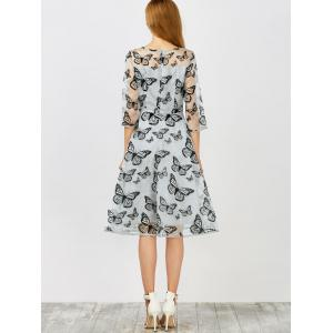 Sheer Butterfly Organza Dress With Sleeves -