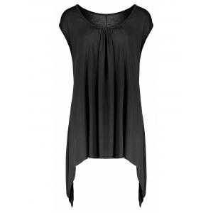 Asymmetric Flowy Plus Size Tank Top - Black - 3xl