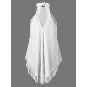 Cut Out Floral Lace Tank Top - WHITE XL