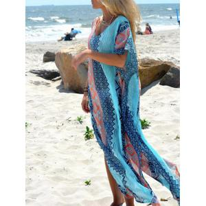 Geometric Print Slit Bohemian Maxi Dress -