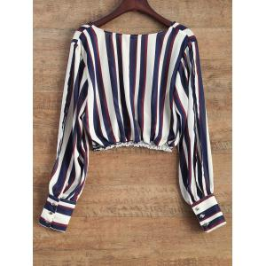 Slit Sleeve Striped Cropped Surplice Blouse -