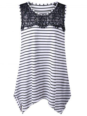 Long Lace Insert Plus Size Stripe Top - White And Black - 3xl