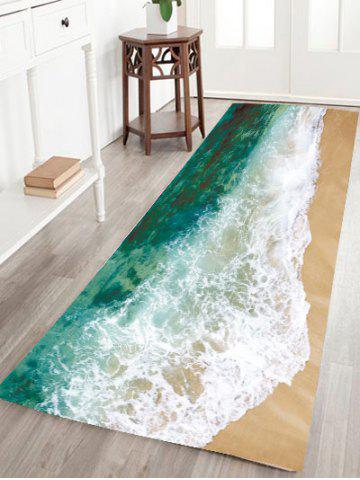 Sea Tide Water Absorptive Flannel Antiskid Rug - Green - 48*16 Inch