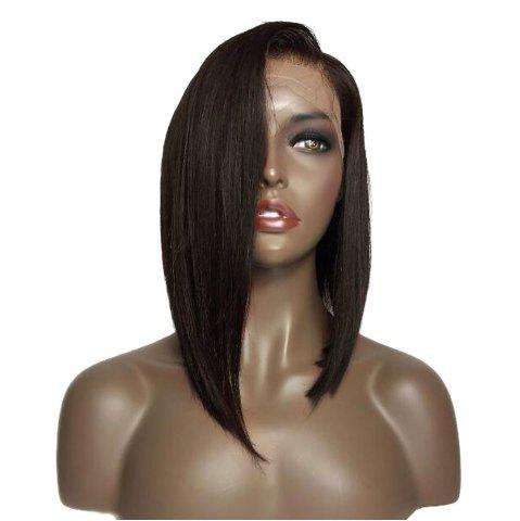 Hot Medium Sided Part Bob Straight Lace Front Synthetic Wig - BLACK AND BROWN  Mobile