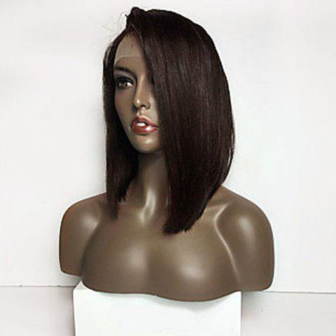 Trendy Long Side Part Straight Lace Front Synthetic Wig - BLACK AND BROWN  Mobile