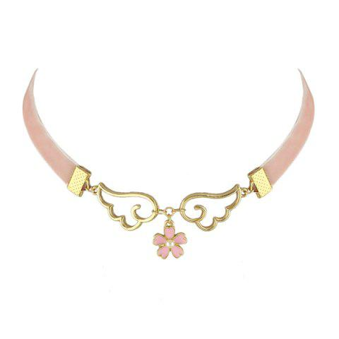 Buy Faux Pearl Flower Wings Velvet Choker Necklace