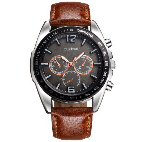 Shop OUKESHI Faux Leather Strap Tachymeter Quartz Watch BROWN