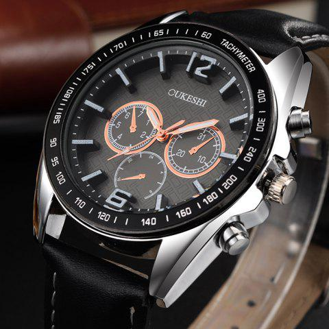 Discount OUKESHI Faux Leather Strap Tachymeter Quartz Watch - BROWN  Mobile