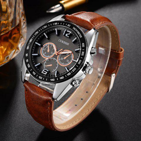 Hot OUKESHI Faux Leather Strap Tachymeter Quartz Watch - BROWN  Mobile