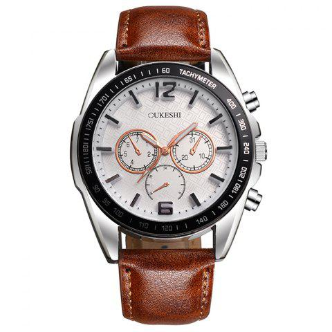 Online OUKESHI Faux Leather Strap Tachymeter Quartz Watch WHITE/BROWN