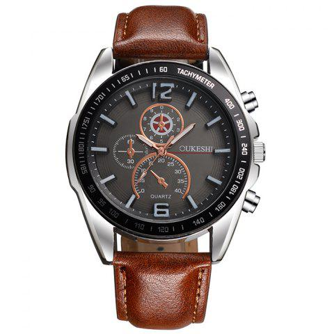 Affordable OUKESHI Faux Leather Strap Quartz Tachymeter Watch BROWN